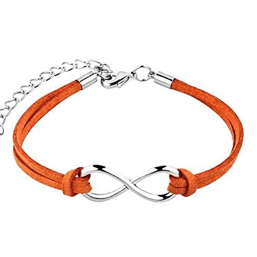 LovelyJewelry Infinity Bracelet Love Rope Handmade Wristband Bracelets for Girls (Orange)