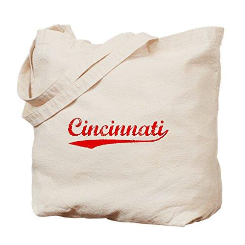 Cafepress–vintage Cincinnati (rosso)–Borsa di tela naturale, tessuto in iuta