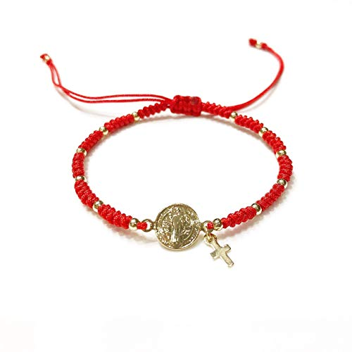 e476e19bd98d St Benedict Medal Adjustable Red String Pulsera San Benito