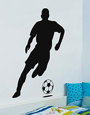 "Life Size Sports Soccer Football Futbol Player Wall Decal Sticker #770A 66"" x 49"". BLACK"