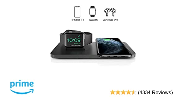 Wireless Charger, Seneo 2 in 1 Dual Wireless Charging Pad with iWatch Stand for iWatch 5/4/3/2, 7.5W Qi Fast Charger for iPhone 11/11 Pro Max/XR/XS ...