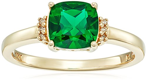 10k Yellow Gold Cushion Cut Created Emerald with Diamond ...