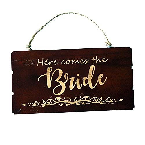 Pongs Rustic Wooden Sign, Here Comes The Bride Sign, Flower Girl Sign, Wedding Decoration Sign]()