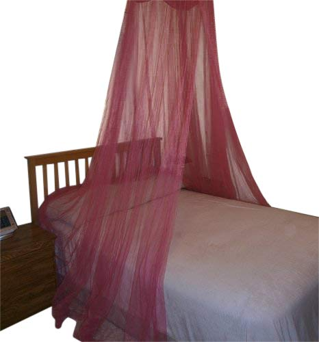 Octorose ® Round Hoop Bed Canopy Netting Mosquito Net Fit Crib, Twin, Full, Queen, King (Hot Pink) Hoop-HotPink