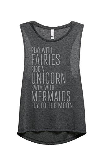 Thread Tank Fairies Unicorn Mermaids Women's Sleeveless Muscle Tank Top Tee Charcoal Grey (Fairy Tank Top Shirt)