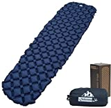 Outdoorsman Lab Inflatable Sleeping Pad – Ultralight, Compact Inflating Pads - Portable Bed Mat for Travel, Hiking, Backpacking - Folding Air Mattress for Sleep Bag, Camping Accessories (Blue)