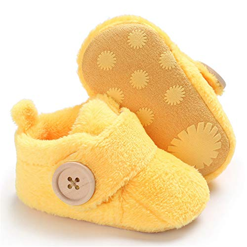 BENHERO Baby Newborn Crib Cozy Fleece Winter Booties Non Skid Soft Sole Shoes Warm Winter Socks (3-6 Months M US Infant), A-Yellow