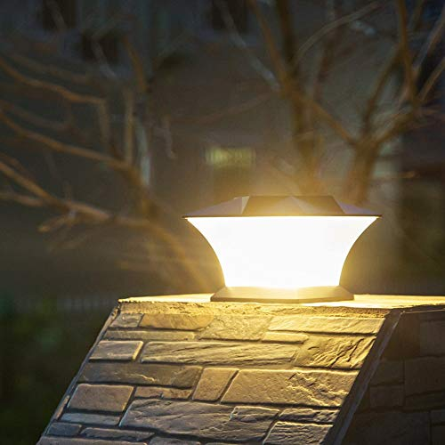 Mpotow European Modern Creative Column Lamp Pillar Light Waterproof LED Solar Pillar Street Light 18 LED Solar Powered Outdoor Landscape Lighting Lamp for Villa Garden Porch Home