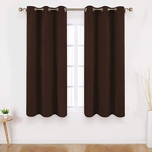 - HOMEIDEAS Blackout Curtains 63 Inches Length 2 Panels Chocolate Brown Room Darkening Curtains/Drapes, Thermal Insulated Solid Grommet Window Curtains for Kids Bedroom & Living Room, 42 x 63 Inches