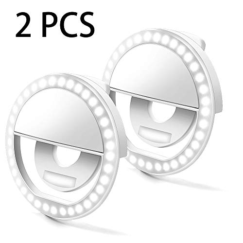 Selfie Ring Light, MtShell 2PCS Selfie Artifact Selfie Ring Flash Led Fill Light Camera Photography Video Spotlight for iPhone and Android Phone (White)