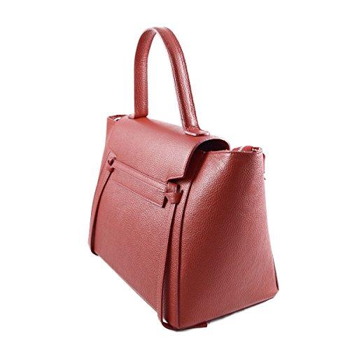 Borsa A Mano In Vera Pelle Colore Rosso - Pelletteria Toscana Made In Italy - Borsa Donna