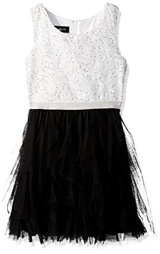 Amy Byer Big Girls' Sequin Bodice Dress with Vertical Ruffle Skirt, Color Ivory/Black, 10