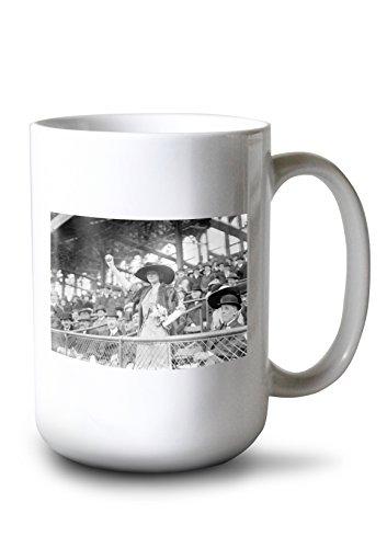 (Lantern Press Genevieve Ebbets at Ebbets Field, Brooklyn Dodgers, Baseball Photo (15oz White Ceramic Mug) )
