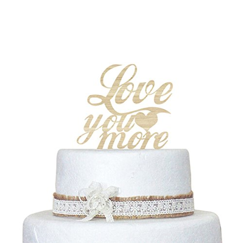 designyours Love You More Wedding Cake Toppers Rustic Wood Engagement Cake Topper Country Wedding Decorations