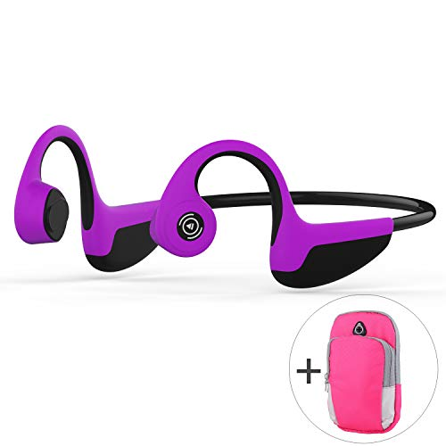 Z8 Bone Conduction Headphones Bluetooth,MIUSUK Ear Bone-Conduction Tech Wireless Bluetooth 5.0 Open Back Headphones Sweatproof and Lightweight 1.2oz Hands-Free with Mic for Outdoor Sports (Purple)