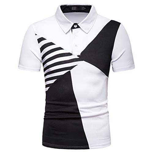 Lookatool T Shirts Polo Tops Blouse Summer Fashion Men's Casual Stand Collar Stripe Splice Short Sleeve Top Blouse M White ()