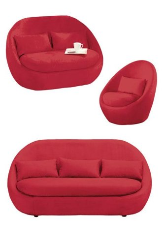 Pod Chair, Love Seat U0026 Sofa Set Red