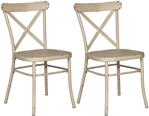 Ashley Furniture Signature Design - Minnona Dining Side Chair - Set of 2 - Cross Back - Vintage Casual Style - Antique White Finished Metal