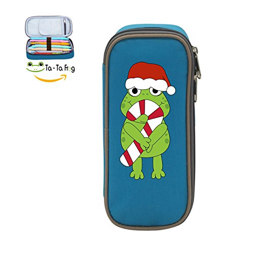 Candy Cane Frog (Mybox Christmas Frog With Candy Cane Cube Pen Case Pencil Box Soft Canvas Student Stationery Office Storage)