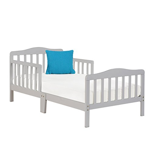 Big Oshi Contemporary Design Toddler & Kids Bed - Sturdy Wooden Frame for Extra Safety - Modern Slat Design - Great for Boys and Girls - Full Bed Frame With Headboard, Grey
