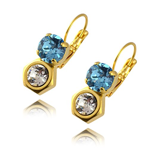 [Nara Hexagon Stack Earrings, Gold Plated Honeycomb Bolt on French Leverback Drop with Blue Swarovski] (Cocktail Honey Costumes)