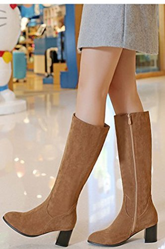 Mid Zip Calf Faux Yellow Block Easemax Toe Up Women's Pointy Heeled Sweet Booties Suede Mid pTxTUCf