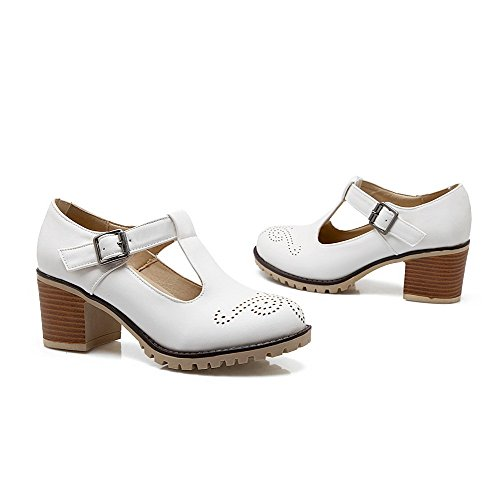 AmoonyFashion Womens Solid Soft Material Kitten-Heels Buckle Round Closed Toe Pumps-Shoes White A6eKYlPTA