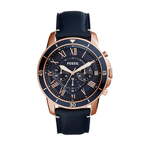 Fossil Men's Grant Sport Quartz Stainless Steel and leather Dress Watch Color: Rose gold, Navy (Model: FS5237) from Fossil