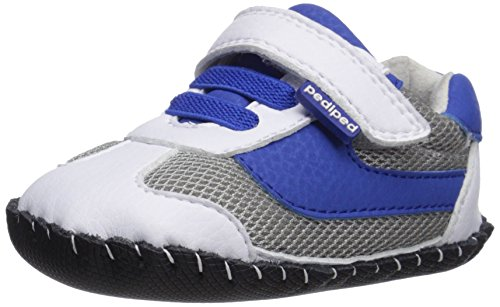pediped Originals Cliff Sneaker, White/Blue, Small (6-12 Months)