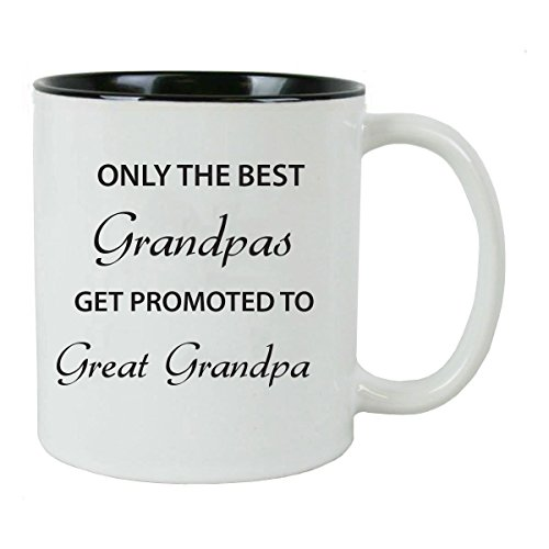 Only the Best Grandpas Get Promoted to Great Grandpa Ceramic Coffee Mug, Black