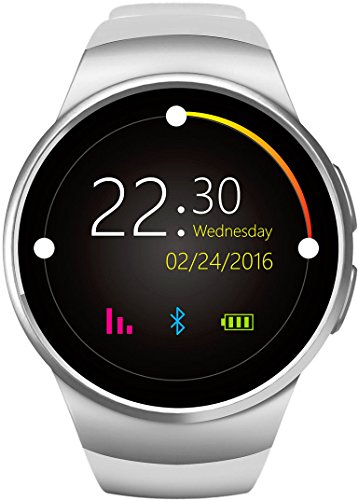 GPCT Bluetooth [Android/iOS] Touch Screen [Water Resistant] Workout/Sleep/Heart Rate Monitor [Smart Watch] for iPhone 7 Plus/7/6s Plus/6s/6/5, Galaxy Edge/S6/S5, HTC, Sony, LG, Android- Silver