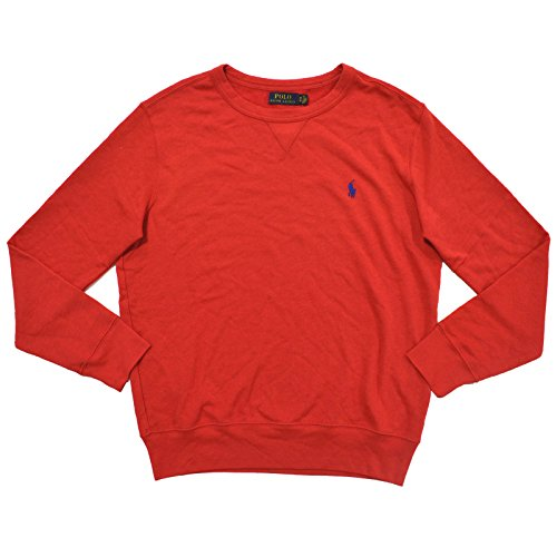 Polo Ralph Lauren Mens Crew Neck Terrycloth Sweater (M, Red) (Terry Polo Top)