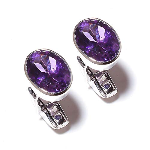 Amethyst Mens Cufflinks - Sterling Silver Amethyst Cufflinks 8x10 mm Amethyst Cufflinks Wedding Cufflinks For Groom Best Man Cufflinks Fathers Day Gifts