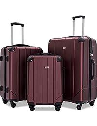 Luggage Sets with TSA Locks, 3 Piece Lightweight P.E.T Luggage 20inch 24inch 28inch (Mahogany)