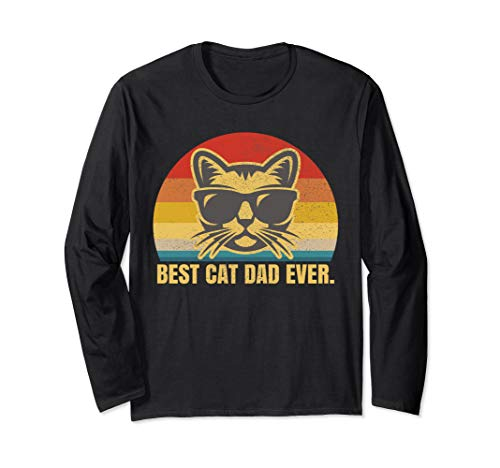 Best Cat Dad Feline Kitty Lover Fathers Day Long Sleeve T-Shirt ()