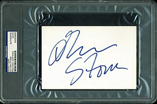 (Oliver Stone Authentic Signed 4X6 Index Card Autographed PSA Slabbed #83050856)