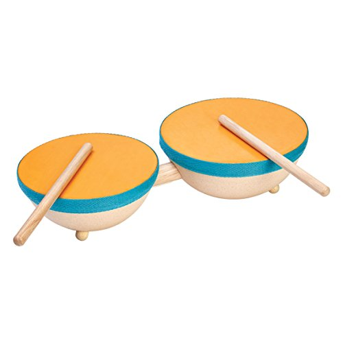 Plan Toys Wooden Double Drum and Drumsticks