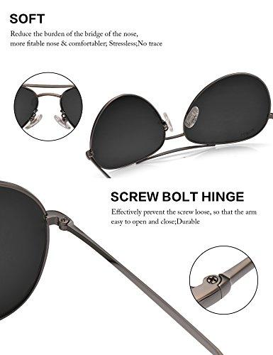 LUENX Homme Lunettes de Soleil Aviator Polarisé avec Étui - UV 400 Protection No Miroir Marron Lunettes monture 60mm pqAsdGY