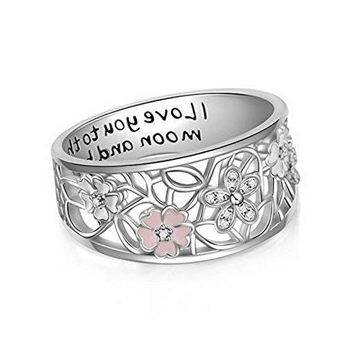 (Waldenn Hollow-Out Daisy Woman Man 925 Silver Ring Wedding Engagement Band Size 6-10 | Model RNG - 14345 | 7)