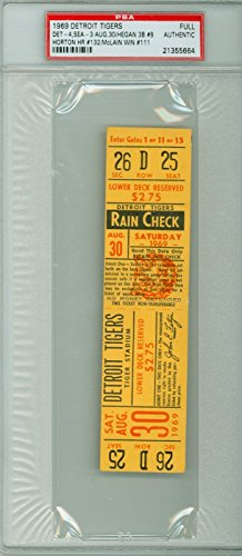 (1969 Detroit Tigers FULL TICKET vs Seattle Pilots Denny McLain Win #111 Seattle Pilots Only Season - August 30, 1969 [Grades clean Excellent; lt corner touches; # WRT on reverse] by Mickeys Cards)