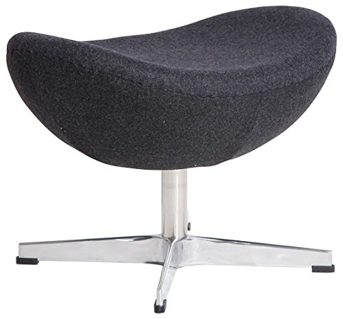 MLF Arne Jacobsen Egg Chair's Ottoman (5 Colors). Premium Cashmere & Hand Sewing. High Density Foam. 4 Star Satin Polished Aluminum Base. Strong Fiberglass Inner Shell.(Dark Grey)