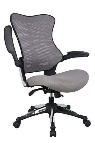 Office Factor Gray Office Chair , Ergonomic, Lumbar Support, Adjustable Executive & Task Chair For Office/Conference Room. Thick Seat & Raisable Arm Rest Mesh Back Office Chair – 250 Lbs Rated (Chair Ergonomic Task Contemporary)