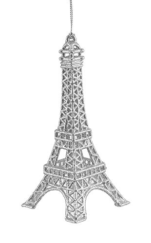 Party Explosions Eiffel Tower Glitter Hanging Ornament (Silver)