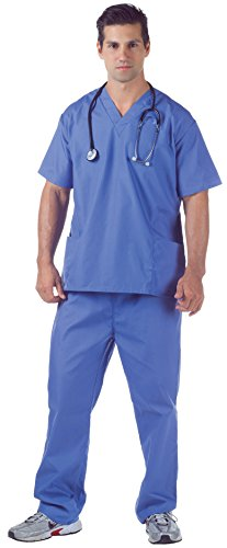(Underwraps Men's Plus-Size Hospital Scrubs, Blue,)