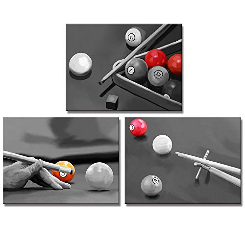 Welmeco Black and White Wall Art Decor Play Pool Table Billiards Pictures Canvas Prints Poster Ready to Hang for Modern Game Bar Room Decoration (12