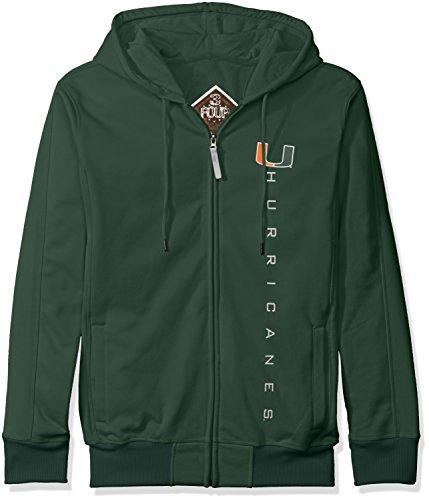 NCAA Miami Hurricanes Men's Snap Fleece Full Zip Hoody, Small/Medium, Green