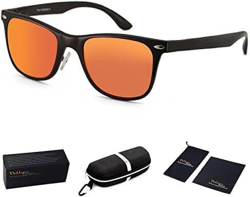 Dollger Classic Polarized Wayfarer Sunglasses Horn Rimmed Frame Mirror Lens