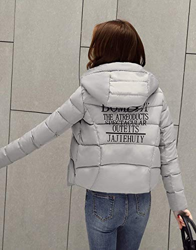 Trapuntato Ladies Grau Zippered Manica Cappotto Jacket Hooded Vintage Letter Casual Down Winter Slim Giacche Lunga Stampa Saoye Fit Clothes Autumn Fashion q5t4w4