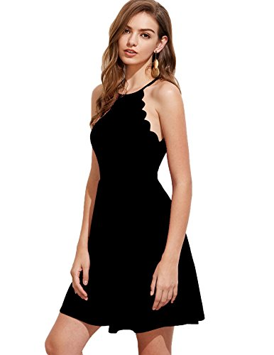 (Romwe Women's Sweet Scallop Sleeveless Flared Swing Pleated A-line Skater Dress Black XS)