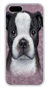 Boston Terrier Puppy Custom iPhone 5s/5 Case Cover Polycarbonate White